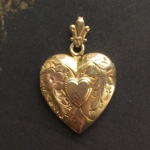 Gold Heart Locket Sterling with 12 K Gold